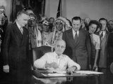 President Harry S. Truman Signing Bill Providing for Establishment of Indian Claims Commission Premium Photographic Print