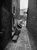 View Down Narrow, Cluttered Alley to Small Patch of Sunlight Backed by Another Wall Premium Photographic Print by Bernard Hoffman