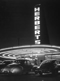 Cars Sitting Outside of a Drive-In Restaurant Premium Photographic Print by Nina Leen