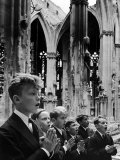 Vienna Boys Choir Members Performing in a Bombed Cathedral Premium Photographic Print