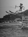 Woman Competing in the National Water Skiing Championship Tournament Premium Photographic Print