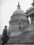 Man Walking Up Steps of Us Capitol Photographic Print