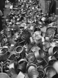 Metal Pots Collected by British Women During WWII for Use in the War Effort Premium Photographic Print