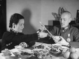 Generalissimo Chiang Kai-Shek Eating Lunch with His Wife Premium Photographic Print by Carl Mydans