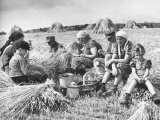 Peasant Farmers Eating Lunch in Wheat Fields Premium Photographic Print