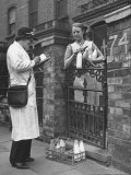 British Woman Delivering Milk to Housewife on Her Morning Rounds Premium Photographic Print