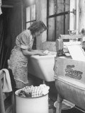 The Maid Doing the Family's Weekly Laundry Premium Photographic Print by Nina Leen