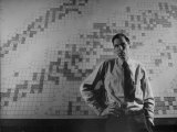 Dr. Glenn T. Seaborg, Standing in Front of a Map of the Laboratory Photographic Print