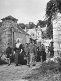 Nun Leading Boys on a Walk at a Vacation Colony for City Children Premium Photographic Print