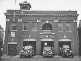 Fire Trucks Sitting Ready to Go at a Firehouse Premium Photographic Print by Hansel Mieth