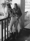 Women Jockey's Watching Race from Balcony of Jockey's Rooms Premium Photographic Print by Peter Stackpole