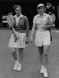 Helen Jacobs and Alice Marble Walking to the Court for the Semi-Finals Match Premium Photographic Print
