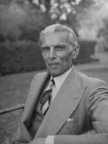 Indian Statesman Mohammed Ali Jinnah Sitting in His Garden Photographic Print