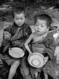 During the Famine, Young Children Begging for Food Premium Photographic Print