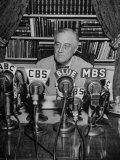 President Franklin D. Roosvelt, Broadcasting a Speech over the Radio from the White House Premium Photographic Print