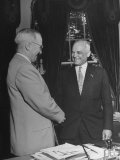 President Harry S. Truman Shaking Hands with Sen. Harold H. Burton Premium Photographic Print