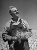 Farmer Posing on His Wheat Field Premium Photographic Print by Ed Clark