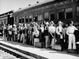 Mexican Farm Workers Boarding Train to Be Taken to Work on Us Farms Premium Photographic Print by J. R. Eyerman
