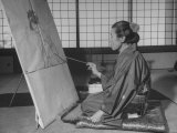 Artist Mrs. Shoen Uemura Painting Picture Premium Photographic Print by Dmitri Kessel