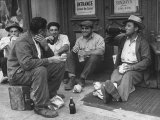 Men Sitting on Street, Drinking from Bottles During Lunch Break Premium Photographic Print by Ed Clark