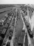 Crowded Yard Filled with Freight Cars Premium Photographic Print by Peter Stackpole
