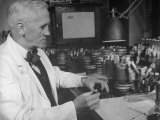 Prof. Alexander Fleming Working in Laboratory Premium Photographic Print