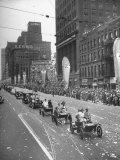 Detroit Golden Jubilee Features Parade with Early Type Cars Premium Photographic Print