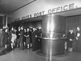 Sightseers Taking a Guided Tour of the Rockefeller Center Post Office Premium Photographic Print by Bernard Hoffman