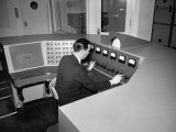 Man Working at a Control Panel at the New York World's Fair Premium Photographic Print