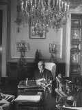 Provisional President Jose Linhares, Sitting in His Office Premium Photographic Print