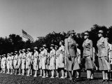 Director Oveta Culp Hobby Reviewing Wacs on Parade Ground Premium Photographic Print
