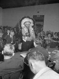 Indian Chief Speaking to Army Officers About the Construction of Garrison Dam Photographic Print