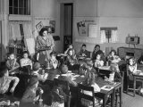 Students Eating in their Classroom at their All White Elementary School Premium Photographic Print