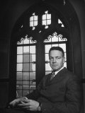 Robert Maynard Hutchins Sitting in Campus Building Premium Photographic Print by Myron Davis