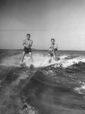 Two Men Behind Boat Which Is Not Seen, Water Skiing Premium Photographic Print
