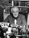 President Franklin D. Roosevelt Speaking on Pre-Invasion Fireside Chat Radio Program Premium Photographic Print