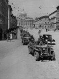 G.I.S Driving Jeeps Through the Streets Premium Photographic Print