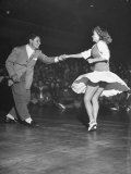 Couple Dancing in a Jitterbug Contest Premium Photographic Print by Peter Stackpole