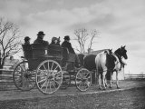 Horse and Buggy Party on Ohio Farm, with City Folk Riding in All Sorts of Carriages and Wagons Premium Photographic Print