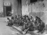 Chinese Prisoners Awaiting Trial Outside Army Headquarters Premium Photographic Print