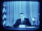TV Image of Pres. Richard M. Nixon Announcing His Resignation in Speech from the Oval Office Premium Photographic Print by Gjon Mili
