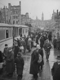 People Boarding the Street Cars at the Intersection of Johannstrasse and Moritzstrasse Premium Photographic Print