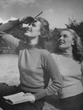Models Wearing Wool Turtleneck Sweaters Representing the Latest College Fashions Premium Photographic Print by Nina Leen