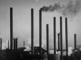 Smokestacks of Us Steel Plant Premium Photographic Print by Margaret Bourke-White