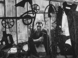 Sculptor Edwardo Paolozzi Posing in His Studio Premium Photographic Print