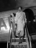 Flight Attendant Avenell Divers Saying Goodbye to Sunyasi Ascetic after Flight on Air India Premium Photographic Print by Margaret Bourke-White