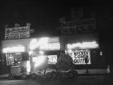 Underworld Character Mickey Cohen's Haberdashery at Night Premium Photographic Print by Peter Stackpole