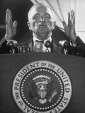 Pres. Harry S. Truman Giving a Speech at a Jefferson-Jackson Day Dinner Premium Photographic Print
