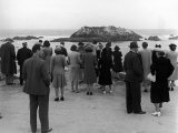 Tourists Visiting Coastal Areas Where Seals Congregate on Monterey Peninsula Premium Photographic Print by Peter Stackpole