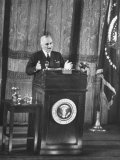 President Harry S. Truman Making a Speech in an Opera House after His Wake Island Trip Premium Photographic Print by Loomis Dean